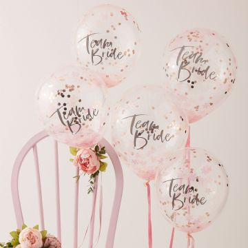 "Pink & Rose Gold ""Team Bride"" Confetti Balloons"